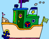 Coloring page Boat with anchor painted bykhrist