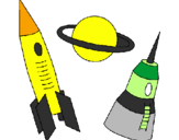 Coloring page Rocket painted byrafael