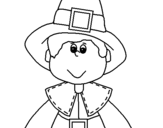 Coloring page Pilgrim boy painted bymonica