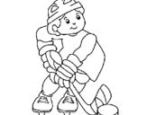 Coloring page Little boy playing hockey painted byval