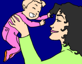 Coloring page Mother and daughter  painted byolivia
