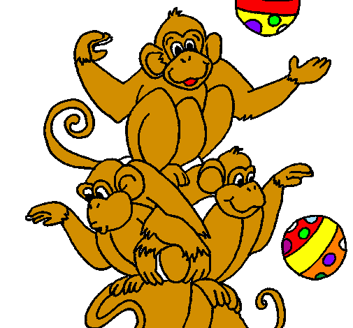 Coloring page Juggling monkeys painted byjuggling monkey