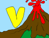 Coloring page Volcano  painted byalex vargas gonzalez