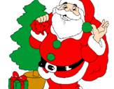 Coloring page Santa Claus and a Christmas tree painted bynice