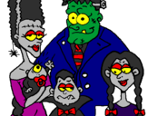 Coloring page Family of monsters painted byash