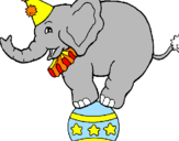 Coloring page Elephant balancing on a ball painted byghfghf