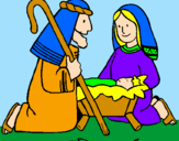 Coloring page Worshipping baby Jesus painted byLIZETTE