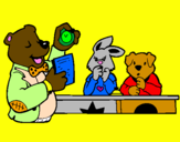 Coloring page Bear teacher and his students painted byRachel  Jones
