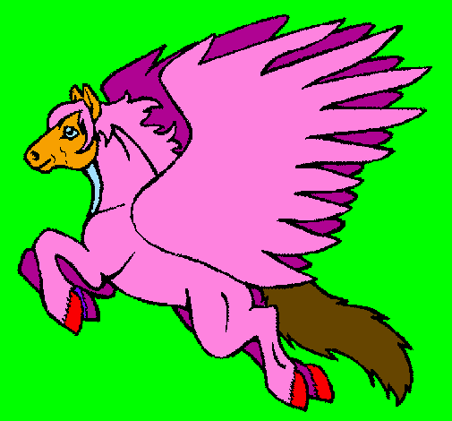 Coloring page Pegasus flying painted byunicorn