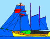Coloring page Sailing boat with three masts painted bypatiya