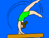 Coloring page Exercising on pommel horse painted byKatelyn