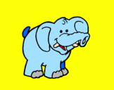Coloring page Elephant painted byGreat