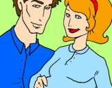 Coloring page Father and mother painted byMarga