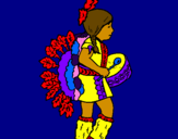 Coloring page Indian with drum painted bycrystalena