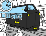 Coloring page Railway station painted byrandy