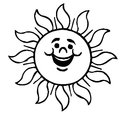 Coloring page Happy sun painted bym