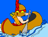 Coloring page Indian paddling painted byjose