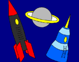 Coloring page Rocket painted byHelen