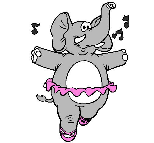 Coloring page Elephant wearing tutu painted bySallie