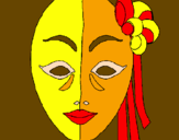 Coloring page Italian mask painted bycrystalena