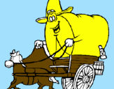 Coloring page Cowboy wagon painted bynahuel