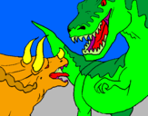 Coloring page Dinosaur fight painted byGIL ESCARRABILL