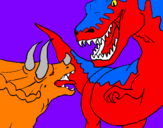 Coloring page Dinosaur fight painted bynicoo