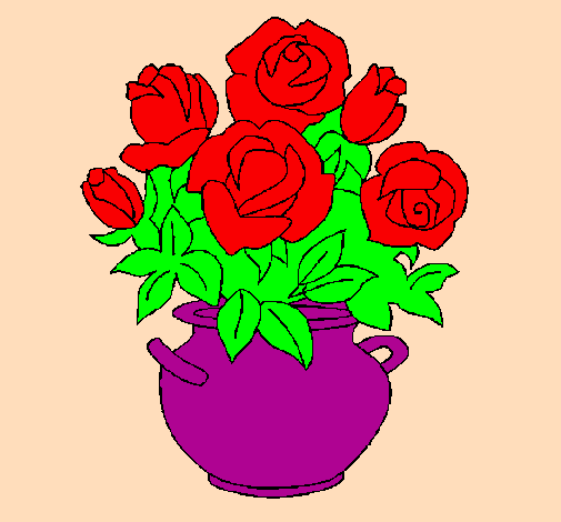 Colored Page Vase Of Flowers Painted By Chandana