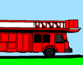 Coloring page Fire engine with ladder painted bybubba