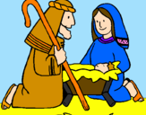 Coloring page Worshipping baby Jesus painted bymoshi count