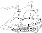 Coloring page 17th century sailing boat painted bybrad