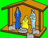 Coloring page Christmas nativity painted by7ue