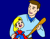 Coloring page Father and son painted bymimi