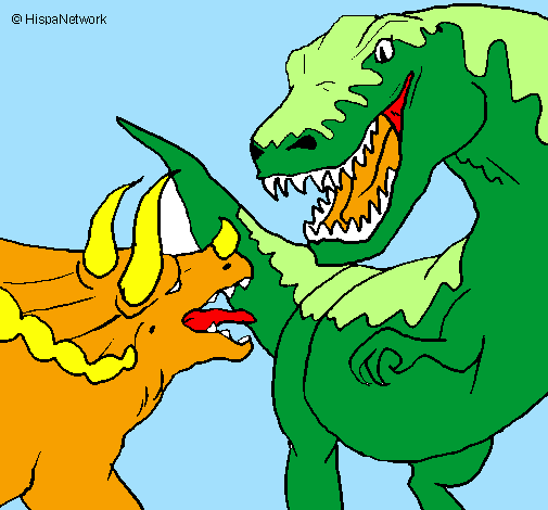 Colored page Dinosaur fight painted