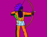 Coloring page Indian with bow painted byFLEHA