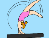 Coloring page Exercising on pommel horse painted bymallory