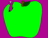 Coloring page Worm in fruit painted bysylvester