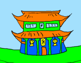 Coloring page Japanese temple painted byjesus