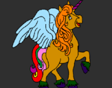 Coloring page Unicorn with wings painted byRosalina