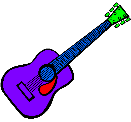 By Rock Star Coloring Page Spanish Guitar II Painted Bylawehhtoo