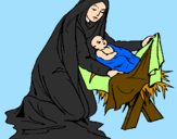 Coloring page Birth of baby Jesus painted byalex