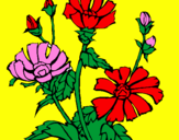 Coloring page Floral ensemble painted byjuan ochoa