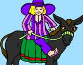 Coloring page Indian on a donkey painted byCandie