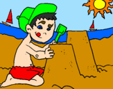 Coloring page Summer painted byEL  NIÑO   EN    LA PLAYA