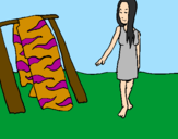 Coloring page Woman drying skin painted byKevin