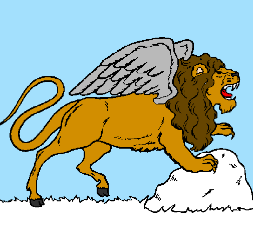 Colored page Winged lion painted