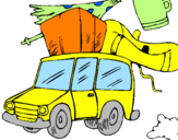 Coloring page Car with luggage painted byRuben