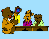 Coloring page Bear teacher and his students painted byel bruto