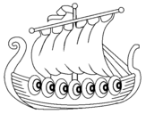 Coloring page Viking boat painted byViking Ship