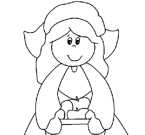 Coloring page Pilgrim girl painted byju
